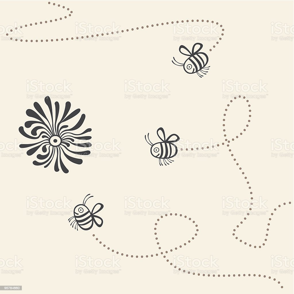 flight trajectory of bees vector art illustration