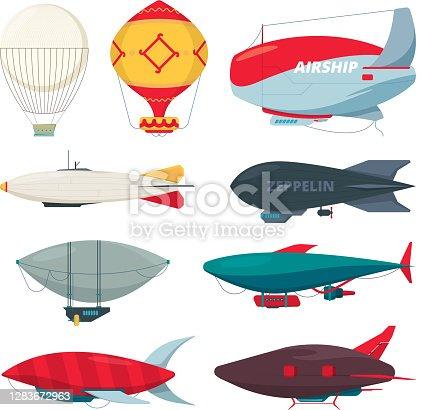 Flight zeppelin. Airship balloon freedom concept collection vector dirigible set. Illustration dirigible balloon with propeller collection