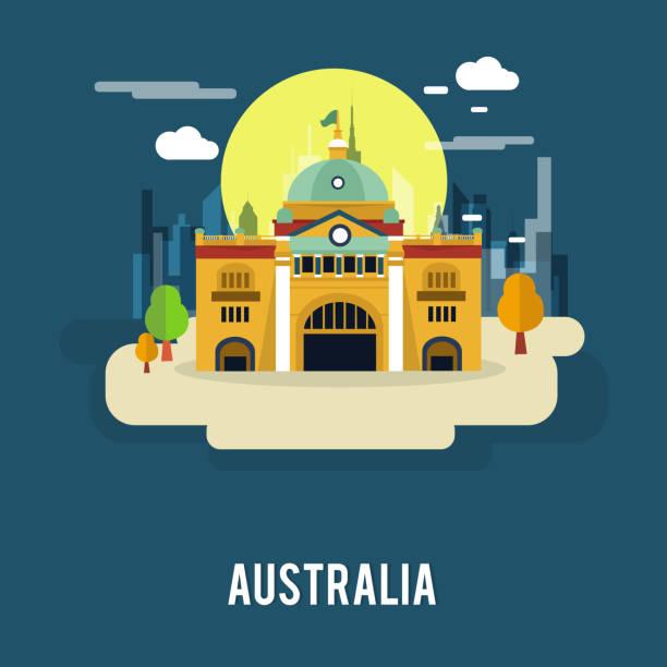 flinders street railway station australia illustration design - melbourne stock illustrations
