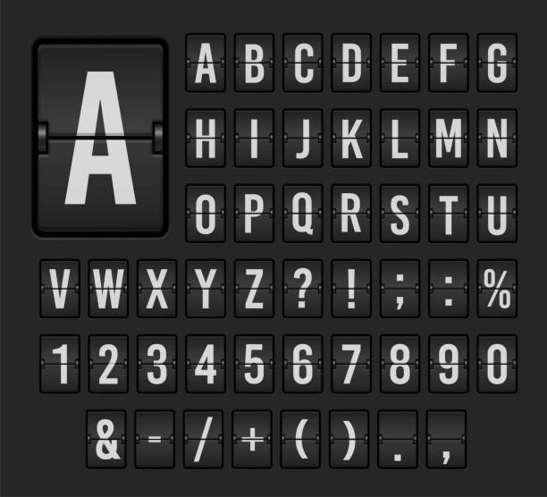 Flip board font set, mechanical display design vector art illustration