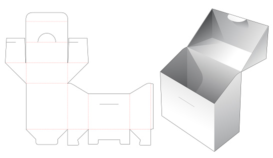 Flip box and locked point die cut template
