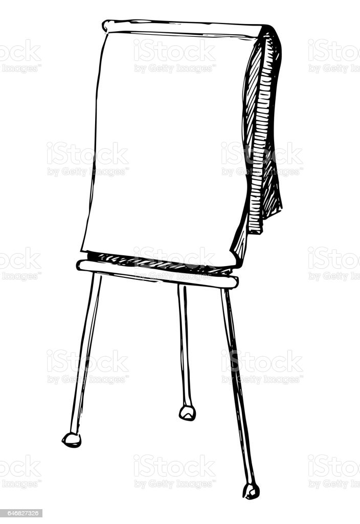 flip chart isolated on white background sketch vector art easel clipart black and white art easel clip art royalty free