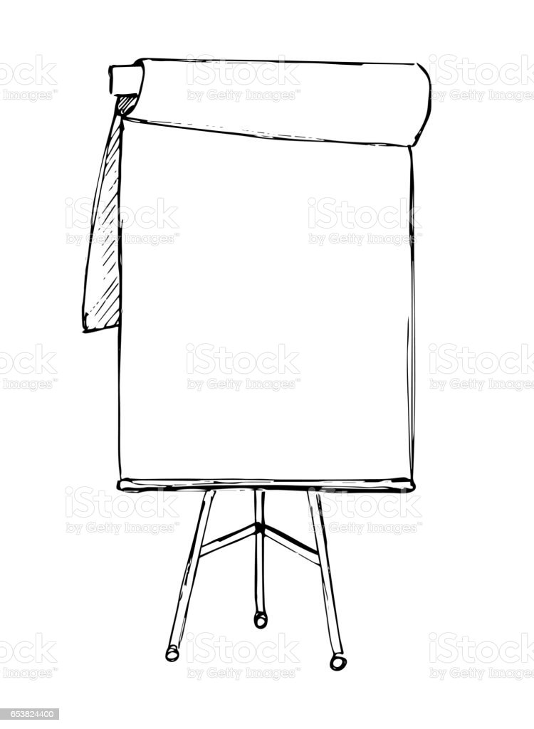 flip chart isolated on white background sketch vector stock vector