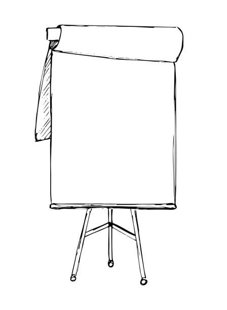 flip-chart, isoliert auf weißem hintergrund. skizze. vektor - flipchart stock-grafiken, -clipart, -cartoons und -symbole