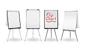 Flip Chart Isolated Vector. Blank Sheet Of Paper On a Tripod. Isolated Illustration