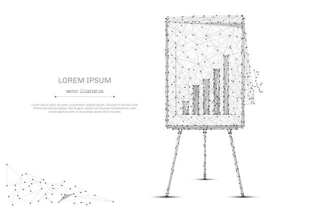 Flipchart mit Diagramm Low Poly grau – Vektorgrafik
