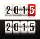 Flip clock for 2015 New Year. EPS 10 file. Transparency effects used on highlight elements.