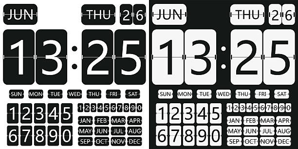 flip clock calendar flip clock calendar, flat design, flip timer, table clock, flat clock, flat calendar flapping wings stock illustrations