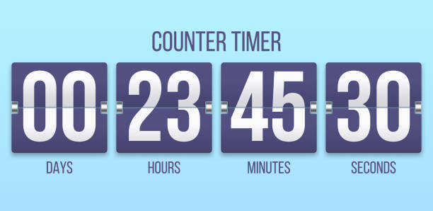 Flip clock timer. Countdown counter days, counting hours and minutes numbers. Flipclock timers vector illustration vector art illustration