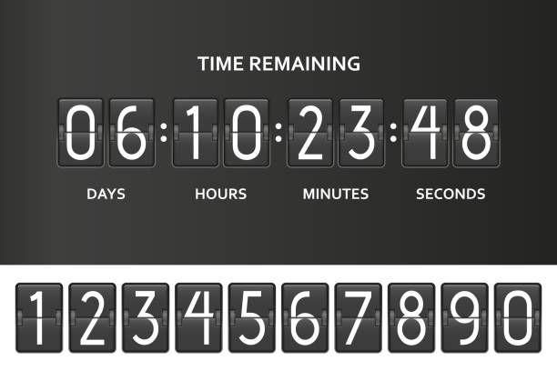stockillustraties, clipart, cartoons en iconen met spiegelen countdown klok teller. resterende aftellen bord met scorebord van dag, uur, minuten en seconden van de tijd. onder bouwprodukten paginasjabloon. vectorillustratie - bar tapkast
