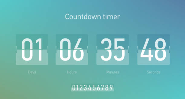 Flip countdown clock counter timer Flip countdown clock counter timer, coming soon or under construction web site page time remaining count down, vector illustration counting stock illustrations