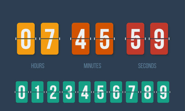 Flip countdown clock counter timer. Vector time remaining count down flip board with scoreboard of day, hour, minutes and seconds for web page upcoming event template design, under construction page. Flip countdown clock counter timer. Vector time remaining count down flip board with scoreboard of day, hour, minutes and seconds for web page upcoming event template design, under construction page. counting stock illustrations