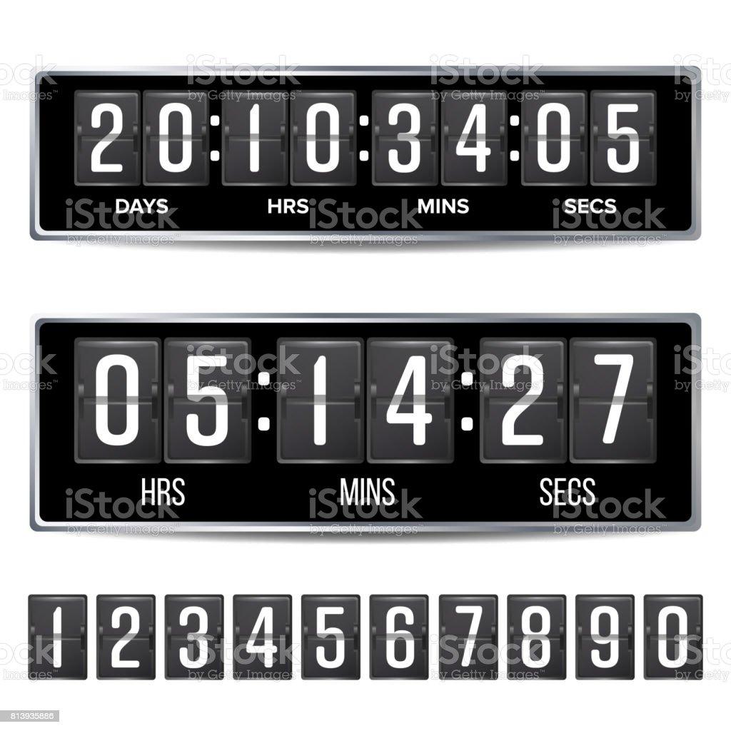Flip Countdown Timer Vector Analog Black Digital Scoreboard ...