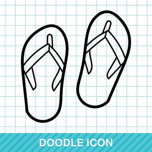 021321f74 flip flop color doodle vector art illustration