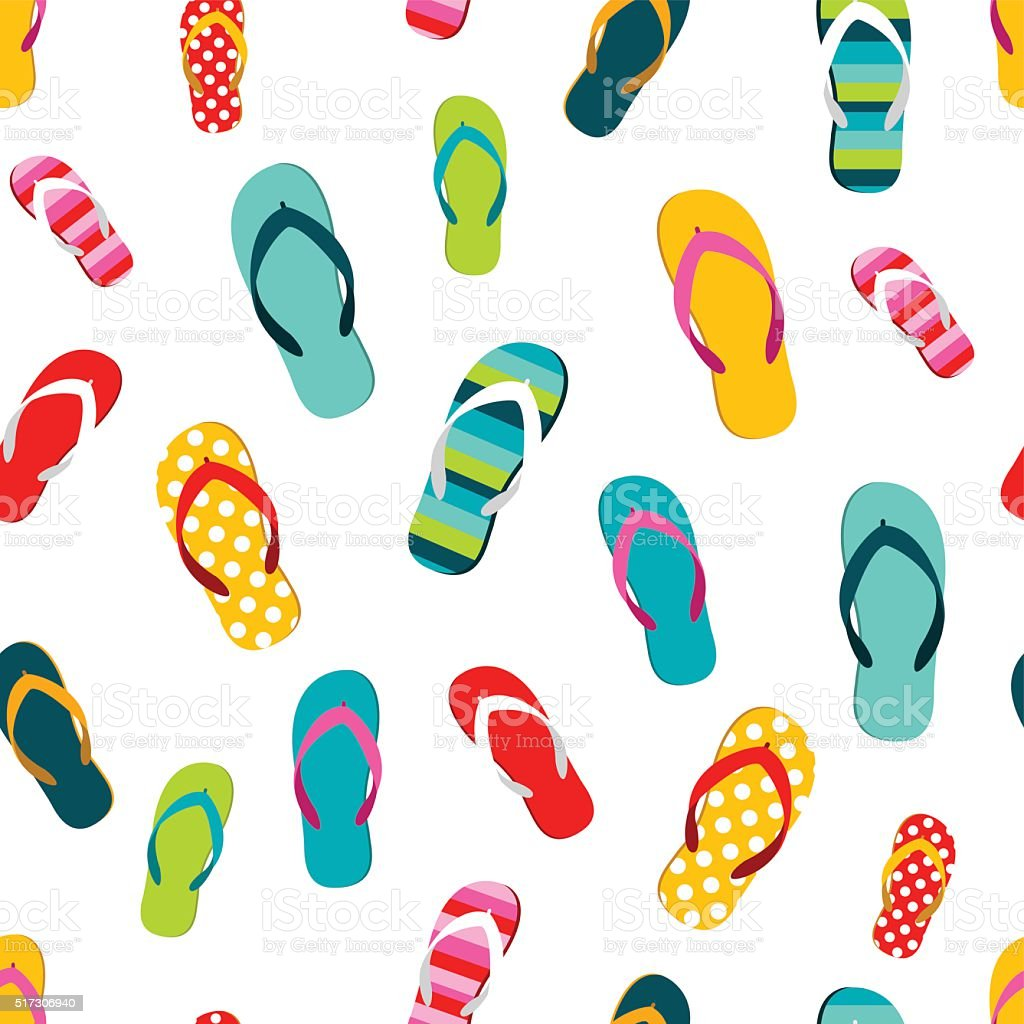 Flip Flop Color Summer Pattern Seamless Repeat Pattern ...