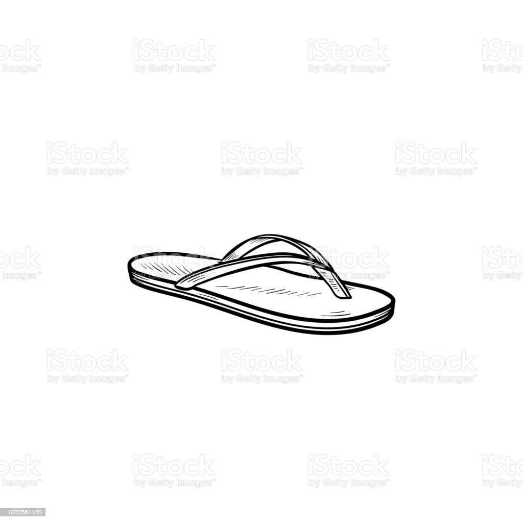 262c757e2 Flip flop sandal hand drawn outline doodle icon royalty-free flip flop  sandal hand drawn