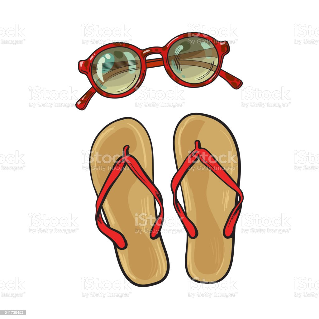 794e8c163e8c Flip Flops And Round Sunglasses Summer Objects Vacation Attributes ...