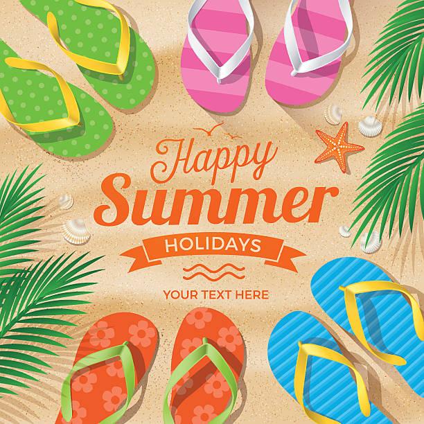 547ad402fee6 Flip Flops colored on Summer Beach vector art illustration