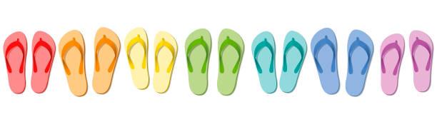 stockillustraties, clipart, cartoons en iconen met slippers - zomer pantoffels, symbolisch voor groep reizen, team, vrienden of familie vakantie - geïsoleerde vectorillustratie op wit gekleurd. - slipper