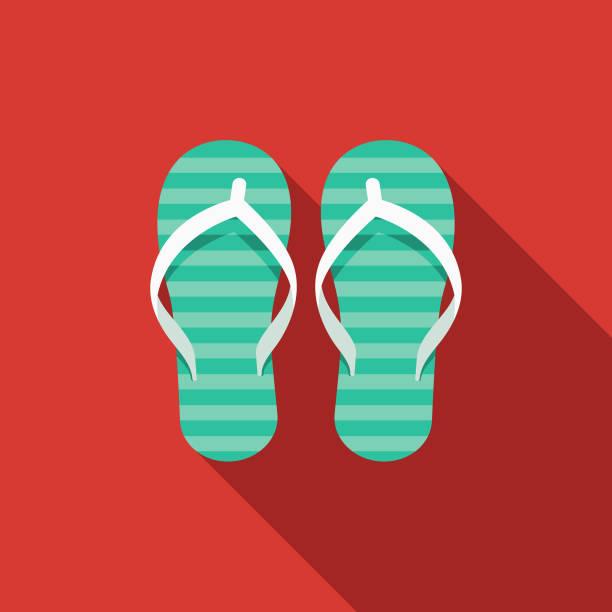 stockillustraties, clipart, cartoons en iconen met slippers plat ontwerp zomer pictogram met kant schaduw - slipper