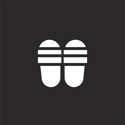 flip flops icon. Filled flip flops icon for website design and mobile, app development. flip flops icon from filled summer collection isolated on black background.
