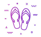 Flip flops outline style icon design with decorations and gradient color. Line vector icon illustration for modern infographics, mobile designs and web banners.