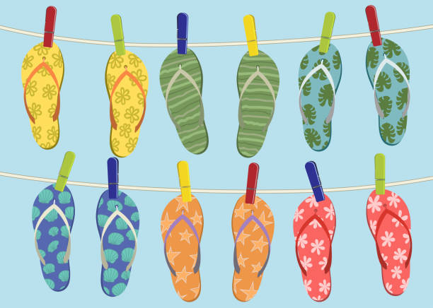 607a869695849 Cute colorful summer banner with flip flops hanging on the rope vector art  illustration. Flip flops on the rope vector art illustration