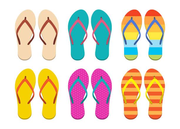 stockillustraties, clipart, cartoons en iconen met flip flops set vector ontwerp illustratie geïsoleerd op witte achtergrond - slipper