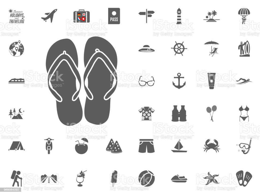 541171923ecb67 Flip Flops Summer Slippers Icon Summer Holidays And Traveling Vector ...