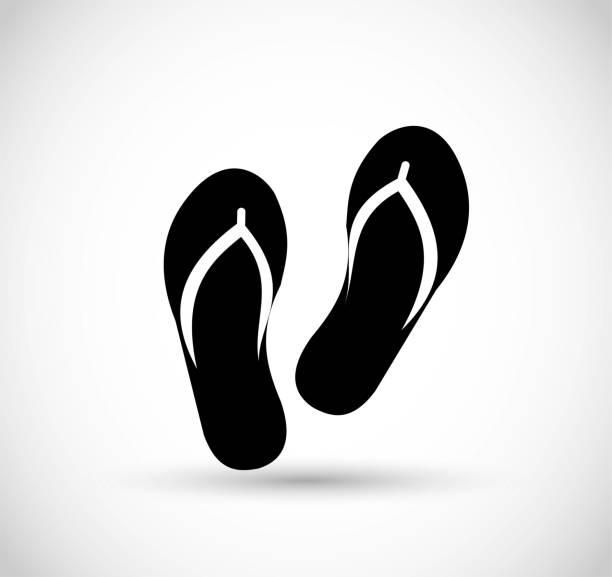 stockillustraties, clipart, cartoons en iconen met flip flops vector icoon - sandaal