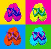 Flip-Flops in Posterised or Pop Art style