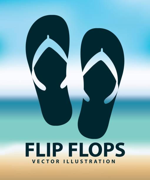 stockillustraties, clipart, cartoons en iconen met flip flops - sandaal