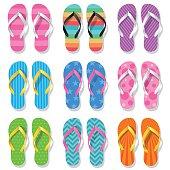 Colored flip flops set.