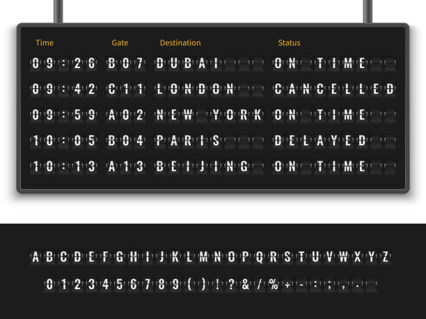 Flip font. Airport flight board info panel departure destination aircraft airline alphabet arrive terminal banner vector illustration Airport board. Font alphabet info panel arrival departure display timetable destination flight terminal, realistic vector illustration airport stock illustrations