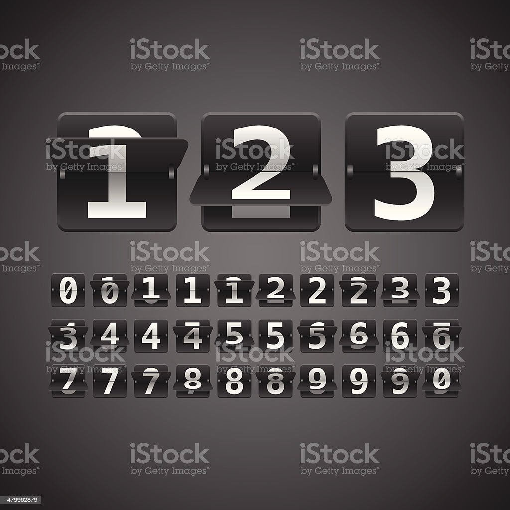 Flip Numbers Set vector art illustration