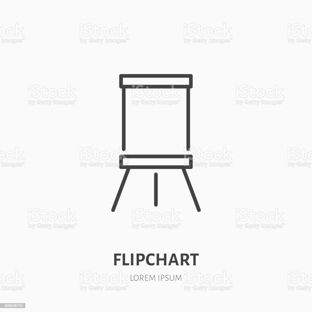 Flipchart flache Liniensymbol. Marker Board Zeichen. Dünne lineare Logo für Präsentation Klassenzimmer - Lizenzfrei Ausbildungsschritt Vektorgrafik