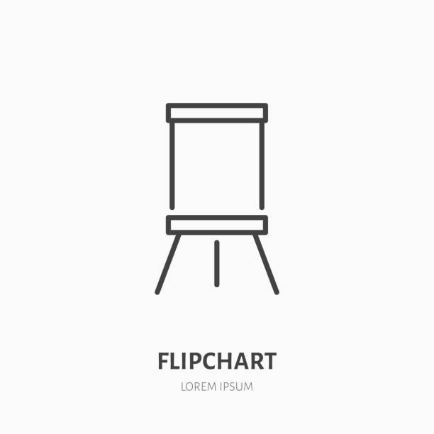 flipchart flache liniensymbol. marker board zeichen. dünne lineare logo für präsentation klassenzimmer - flipchart stock-grafiken, -clipart, -cartoons und -symbole