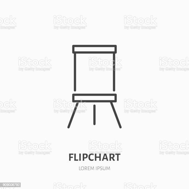 Flipchart Flache Liniensymbol Marker Board Zeichen Dünne Lineare Logo Für Präsentation Klassenzimmer Stock Vektor Art und mehr Bilder von Ausbildungsschritt
