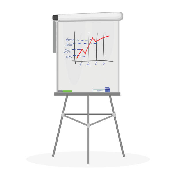 flipchart office equipment flache vektor-illustration auf weiß - flipchart stock-grafiken, -clipart, -cartoons und -symbole