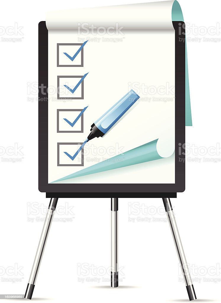 Flipchart with Checklist royalty-free flipchart with checklist stock vector art & more images of black color