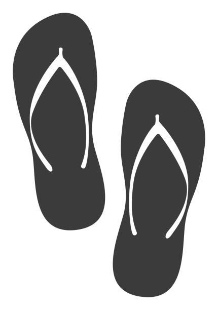 stockillustraties, clipart, cartoons en iconen met flip-flip pictogram - slipper