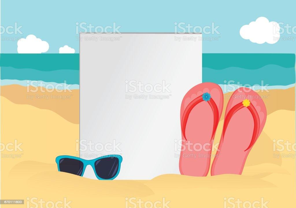 aff0c2caa3118 Parmak arası terlik ve okyanusun kumlu sahilde güneş gözlüğü. Vektör.  Seyahat için davetiye.