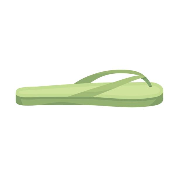 Flip-flops icon in cartoon style isolated on white background. Shoes symbol stock vector illustration. - illustrazione arte vettoriale