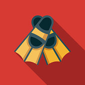 Flippers Flat Design Travel & Vacation Icon