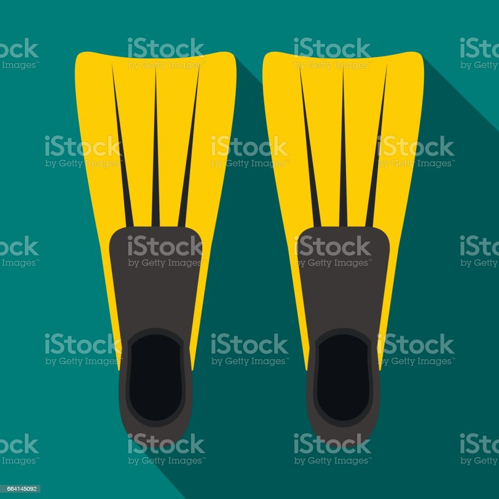 Flippers for diving icon, flat style flippers for diving icon flat style - immagini vettoriali stock e altre immagini di acqua royalty-free