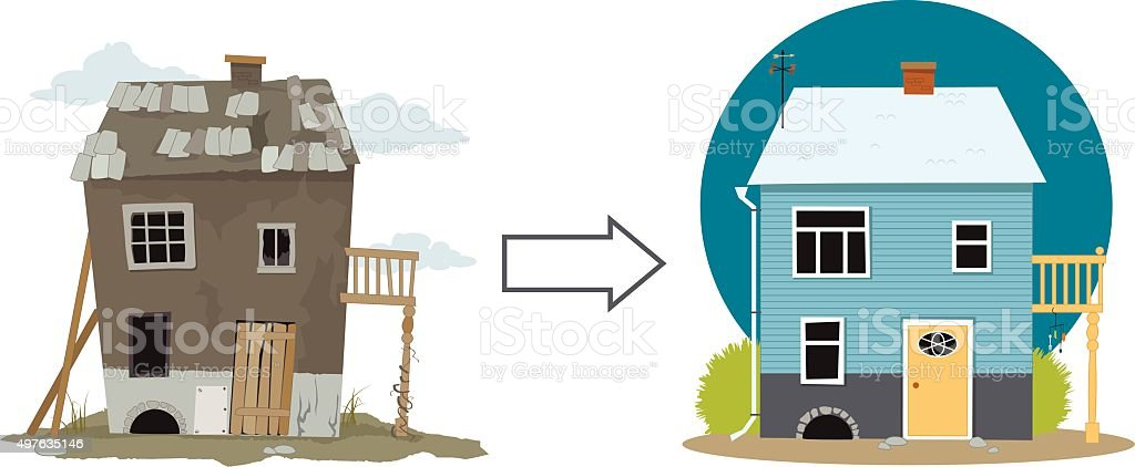 Flipping a house vector art illustration