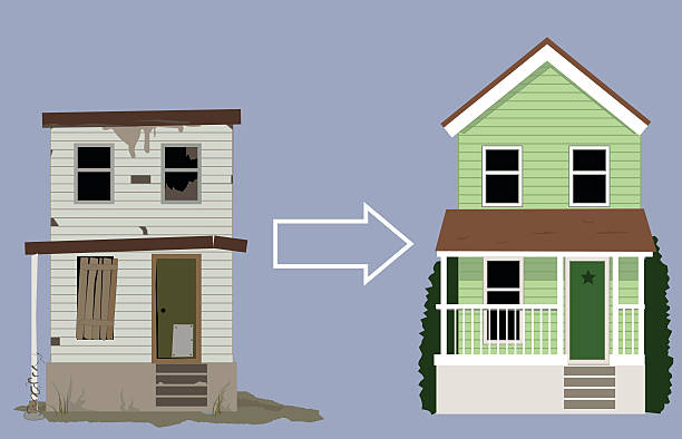 Flipping a house Old, rundown house turned into a nice new two-storey home, EPS 8 vector illustration bad condition stock illustrations