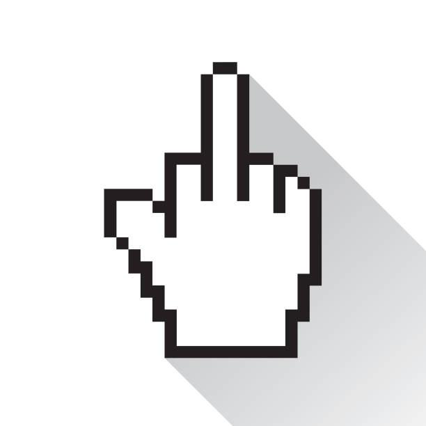 ilustraciones, imágenes clip art, dibujos animados e iconos de stock de los bancos de dedo de mano - middle finger