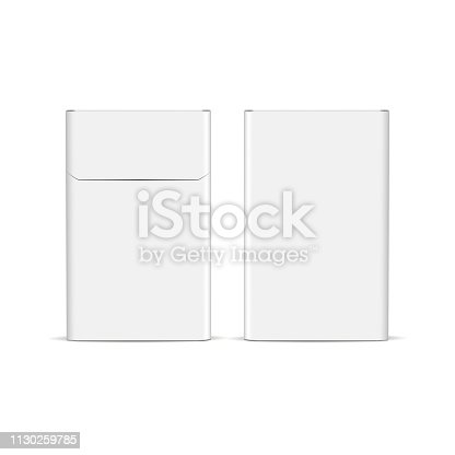 Flip-top cigarette pack mockup isolated on white background - front and back view. Vector illustration