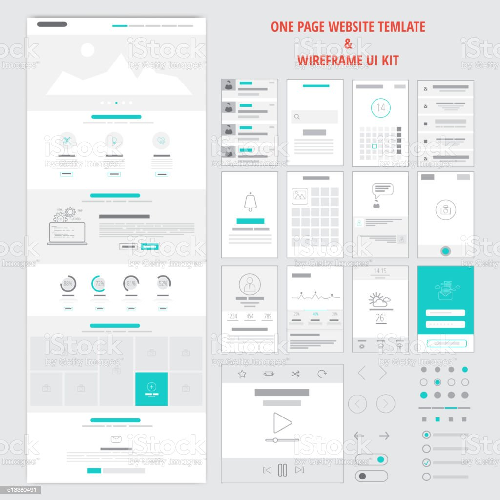 Fllat responsive one page website template vector art illustration